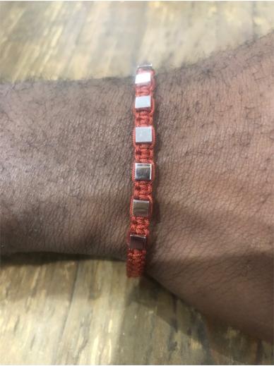 Bracelet Zag Homme rouge brun cubes Acier naturel