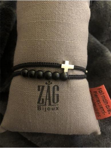 Bracelet Zag double tour noir croix