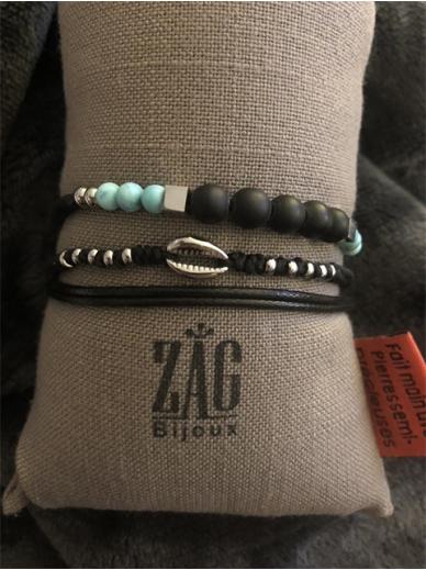 Bracelet Zag triple tour noir et turquoises