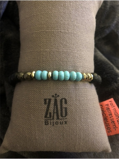 Bracelet Zag elastique noir et turquoises