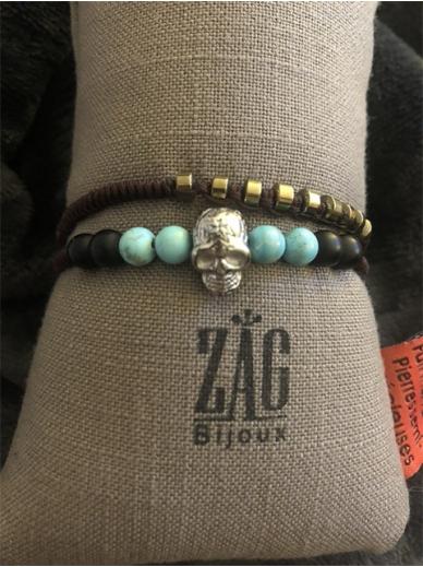 Bracelet Zag double tour turquoises et tête de mort