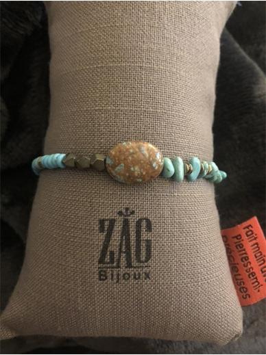 Bracelet Zag elastique turquoises et acier