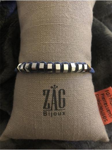 Bracelet Zag jonc en acier sur cordon tressé bleu