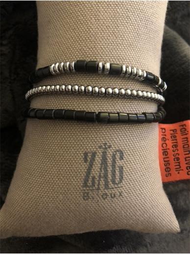 Bracelet Zag triple tour noir et acier