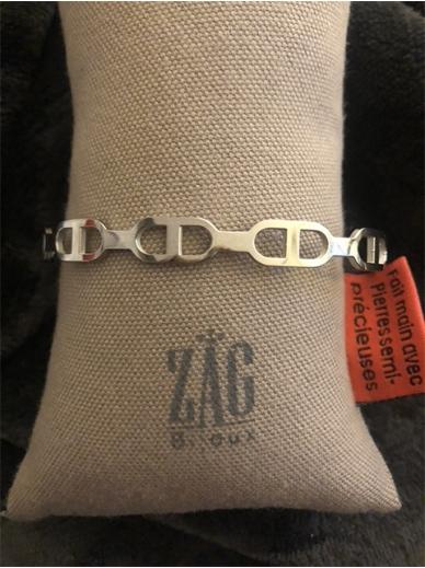Bracelet Zag jonc maille marine en acier